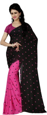 Anand Sarees Polka Print Daily Wear Georgette Saree(Pink, Black)