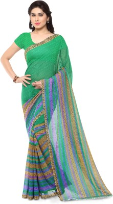 Anand Sarees Printed, Striped Daily Wear Georgette Saree(Green)