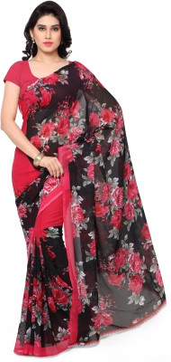 Anand Sarees Floral Print Daily Wear Synthetic Georgette Saree(Red)