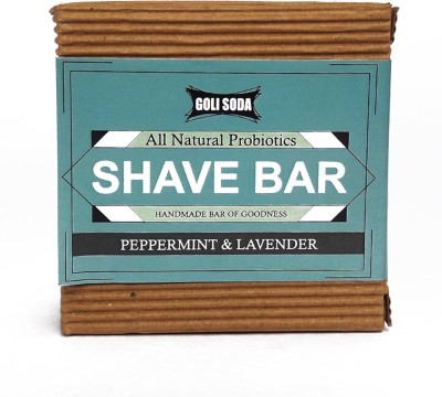 Golisoda All Natural Shave Bar - Peppermint & Lavender - Handmade / Biodegradable / Non Toxic / Cruelty Free / Palm Oil Free Shaving Soap(90 g)