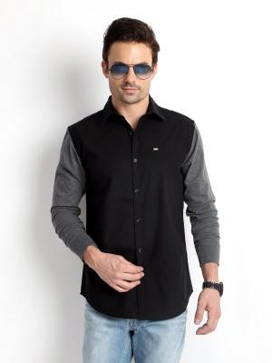 Rodid Men Colorblocked Casual Black Shirt