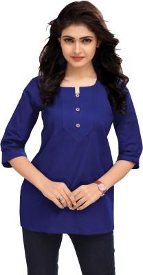 Venisa Casual 3/4 Sleeve Solid Women Dark Blue Top Venisa Women's Tops
