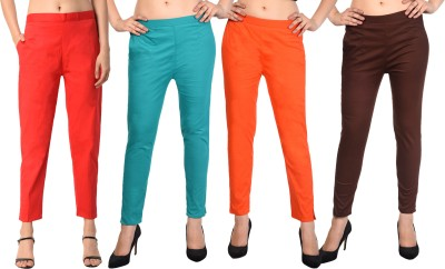 LAPZA Regular Fit Women Red, Light Green, Orange, Brown Trousers
