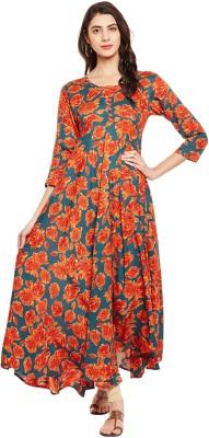 Tissu Women Floral Print Flared Kurta(Orange, Grey)