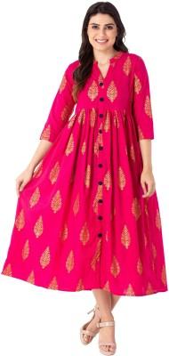 M&D Wedding Embellished Women Kurti(Pink)