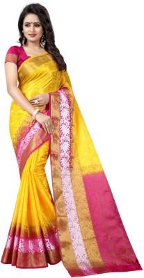 INDIAN CULTURE Self Design Banarasi Cotton Silk Saree(Yellow, Pink)