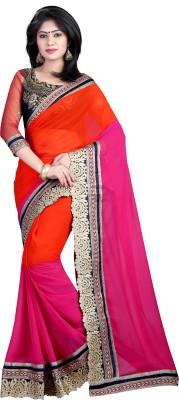 J Milan Self Design Bollywood Handloom Georgette Saree(Pink, Red) Flipkart