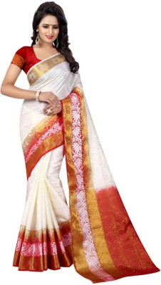 INDIAN CULTURE Self Design Banarasi Cotton Silk Saree(White, Red)