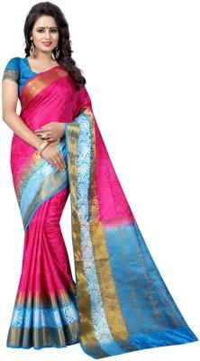 INDIAN CULTURE Self Design Banarasi Cotton Silk Saree(Pink)