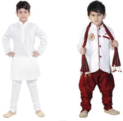 VASTRA FAB Boys Festive & Party Kurta, Pyjama & Dupatta Set(White Pack of 2) Flipkart