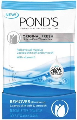 Ponds Clean Sweep Wet Cleansing Towelettes Original Fresh - 15 ct Makeup Remover(200 g)