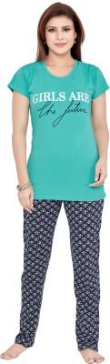 KuuKee Women Solid Green Top & Pyjama Set