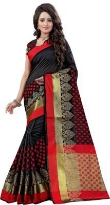 INDIAN BEAUTIFUL Woven Daily Wear Cotton Silk Saree Black