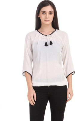 Delux Look Casual 3/4 Sleeve Solid Women White Top