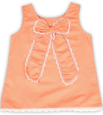 United Colors of Benetton Girls Casual Cotton Linen Blend, Cotton Blend Top(Orange, Pack of 1)