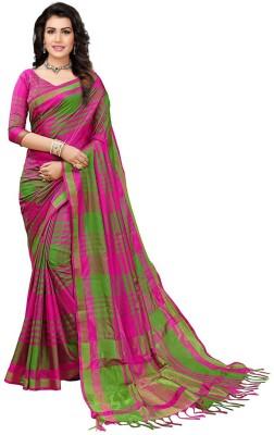 V J Fashion Checkered Daily Wear Art Silk Saree(Pink, Green)