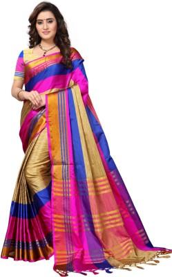 Saara Striped Fashion Poly Silk Saree(Beige, Pink, Blue)