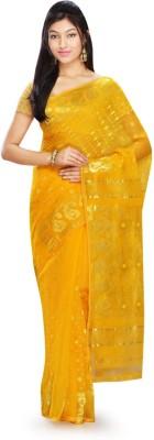 Rudrakshhh Embroidered Jamdani Handloom Cotton Blend Saree(Multicolor) at flipkart