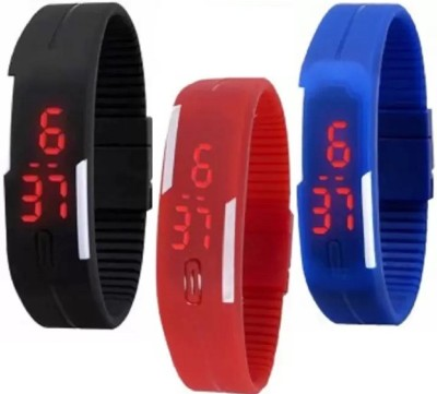blutech NEW STYLISH HIGH QUALITY Rubber Magnet Led Set Of 3 Watches for kids and boys Watch  - For Men & Women