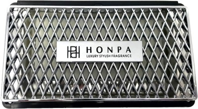 Honpa Luxury & Stylish: Black & Metal Chrome Finish - Multiutility Dashboard Case with Car Gel based Perfume
