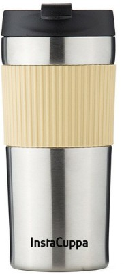 InstaCuppa Travel French Press - Coffee and Tea Press - Double-Walled Vacuum Insulated Travel Mug, 400 ML, Classic 3 Cups Coffee Maker(Silver)