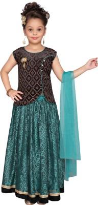 Aarika Girls Lehenga Choli Ethnic Wear, Fusion Wear Self Design Lehenga, Choli and Dupatta Set(Green, Pack of 1) at flipkart