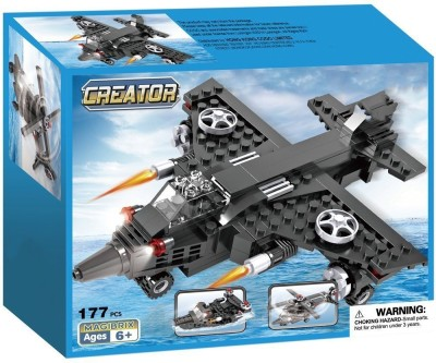Webby 3 in 1 Airplane Helicopter Army Boat, 177 Pieces Black Webby Blocks   Building Sets