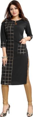 ALC Creations Women Printed Straight Kurta(Grey, Black)