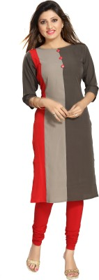 ALC Creations Casual Solid Women Kurti Red, Grey
