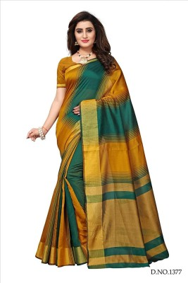 Bhuwal Fashion Woven Daily Wear Silk Cotton Blend Saree(Multicolor)