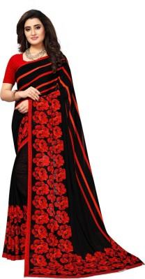 Saara Striped Daily Wear Georgette Saree(Red, Black)