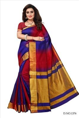 Bhuwal Fashion Woven Daily Wear Silk Cotton Blend Saree(Multicolor)