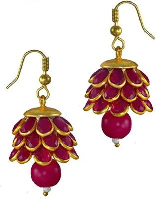 Aabhu Aabhu Gold plated Jewellery Stone Studded Pearl Jhumki Pachi Earrings For Women & Girls Pearl Alloy Drop Earring