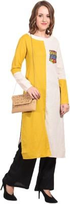 Hollyblue Women Self Design Frontslit Kurta(White, Yellow)