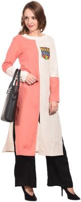 Hollyblue Women Self Design Frontslit Kurta(White, Pink)