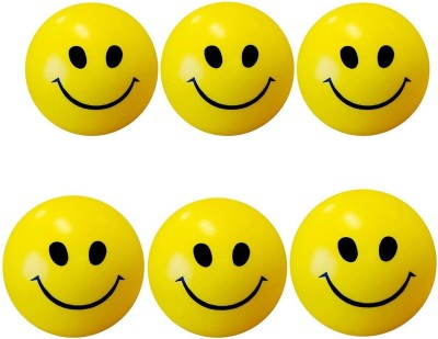 Khushi Stress Reliver Smiley Ball   Pack Of 6    2 mm Yellow Khushi Soft Toys