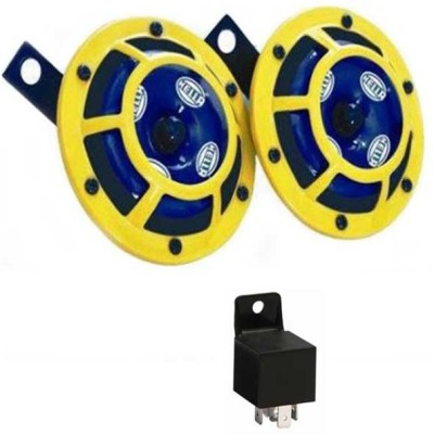 HELLA SUPERTONE YELLOW PANTHER HORN KIT  WITH GENUINE HELLA RELAY WIRE