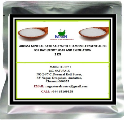 MGBN AROMA MINERAL BATH SALT WITH CHAMOMILE ESSENTIAL OIL FOR BATH/FOOT SOAK AND EXFOLIATION 2 KG(2000 g)