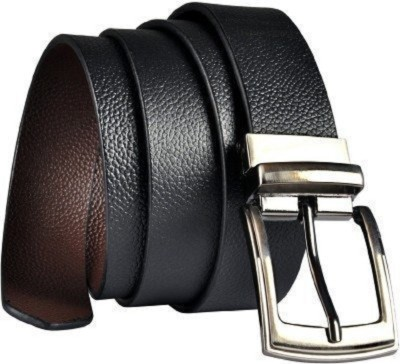 KAEZRI Men Formal Black Genuine Leather Reversible Belt