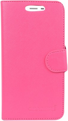 CHAMBU Flip Cover for Samsung Galaxy J5 8GB(Pink, Shock Proof, Artificial Leather)