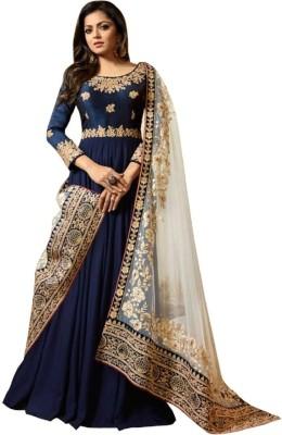 Fashionuma Faux Georgette Embroidered Semi-stitched Salwar Suit Dupatta Material