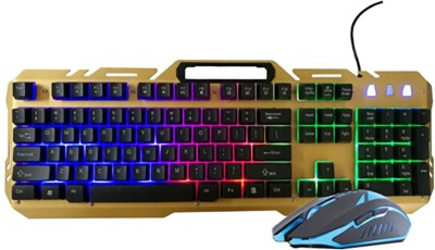 ShopyBucket Patriot (aigo) WQ1502A game mouse and keyboard set Jedi survival LOL cool notebook desktop cable game mouse and keyboard set Wired USB Laptop Keyboard(Golden, Black) at flipkart