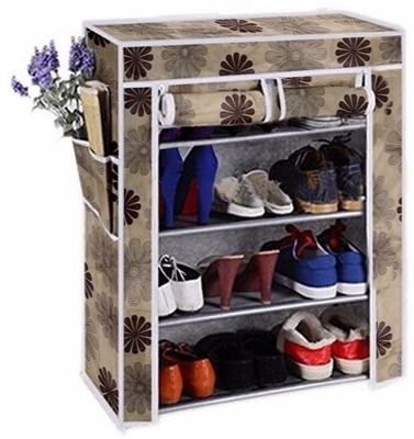 CMerchants Classic-Flower05-Stand Metal Collapsible Shoe Stand(Beige, 4 Shelves)