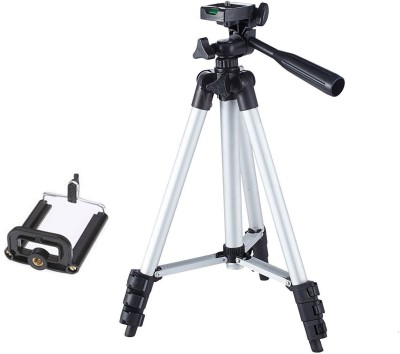 BUY GENUINE Tripod-3110 Portable Adjustable Aluminum Lightweight Camera Stand With Three-Dimensional Head & Quick Release Plate For Canon Nikon Sony Cameras Camcorders and mobile holder Tripod(Silver & Black, Supports Up to 1500 g)