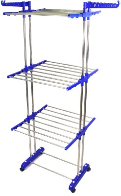 TNC Desire Collapsible Clothes Drying Rack 3-Tier Folding Laundry Dryer Hanger Stainless Steel Floor Cloth Dryer Stand (BLUE) Stainless Steel, Polypropylene Floor Cloth Dryer Stand(Blue)