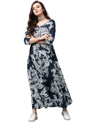 Aks Women Maxi Blue, Green Dress Flipkart
