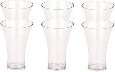 Woms Stylish Acrylic Unbreakable Glass For Multipurpose Use_4 Glass Set(Plastic, 200 ml, Clear, Pack of 6)