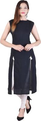 Desier Women Self Design Straight Kurta(Black) Flipkart