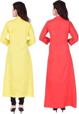 Desier Women Solid Gown Kurta(Yellow, Red)