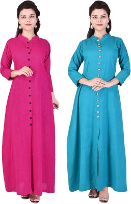 Desier Women Solid Gown Kurta(Pink, Green)